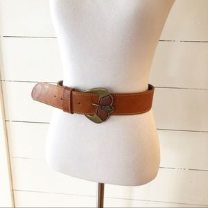 Vintage Tan Leather Art Deco Buckle Boho Belt